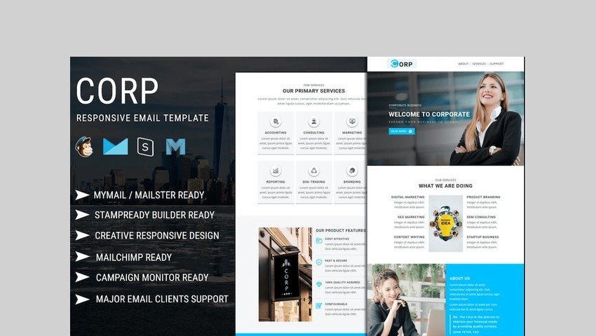 Corp - Responsive Email Template by pennyblack