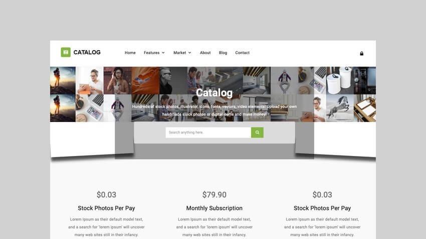 Catalog Marketplace and membership theme