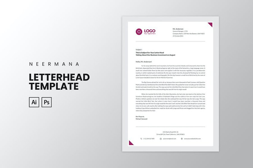 Letterhead template for Illustrator and Photoshop