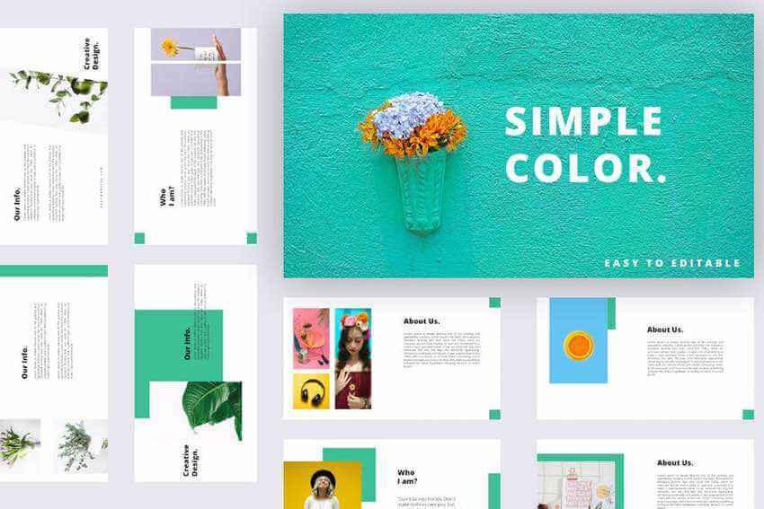 Simple Color Google Slides template on Envato Elements