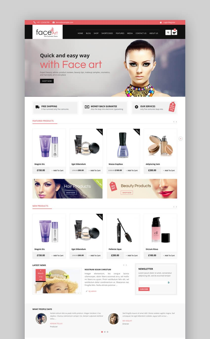 Face Art - Beauty And Cosmetics WooCommerce Responsive Theme
