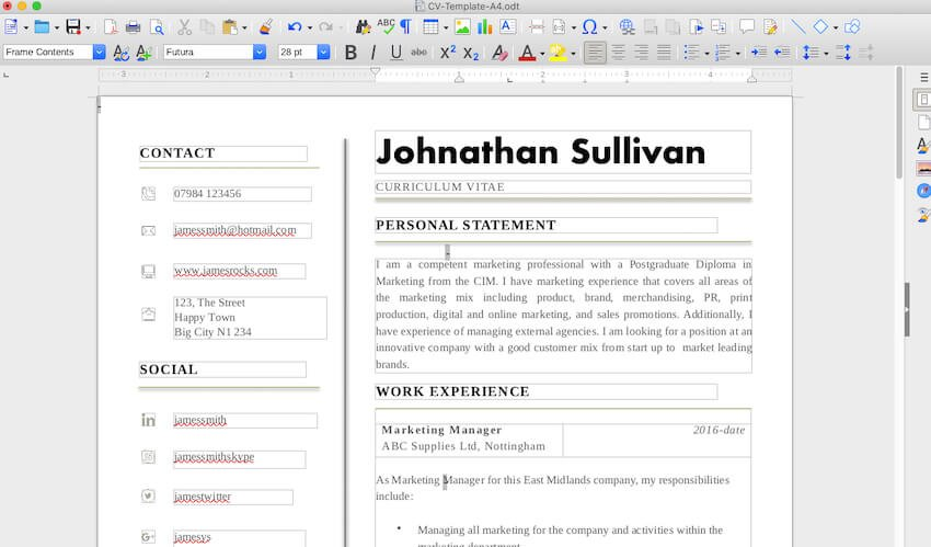 converted file in LibreOffice