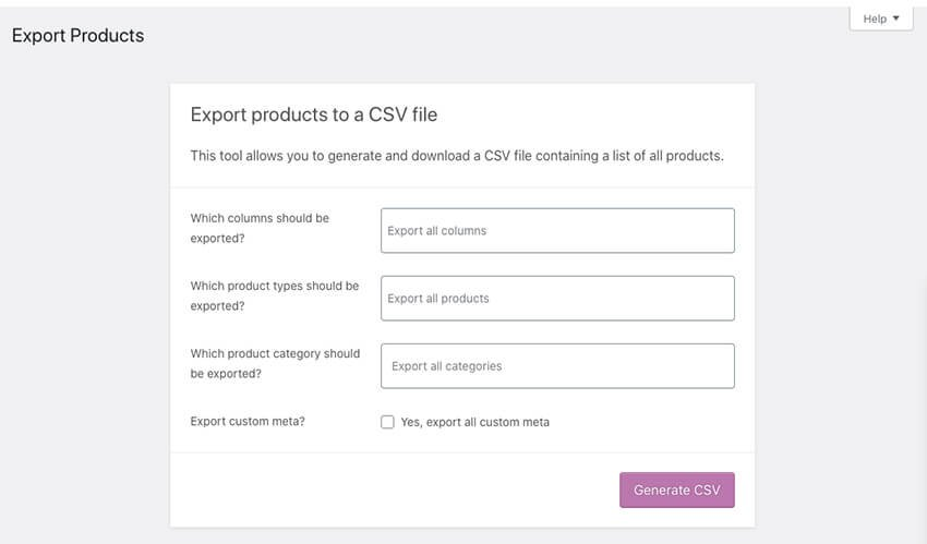Exporting WooCommerce products