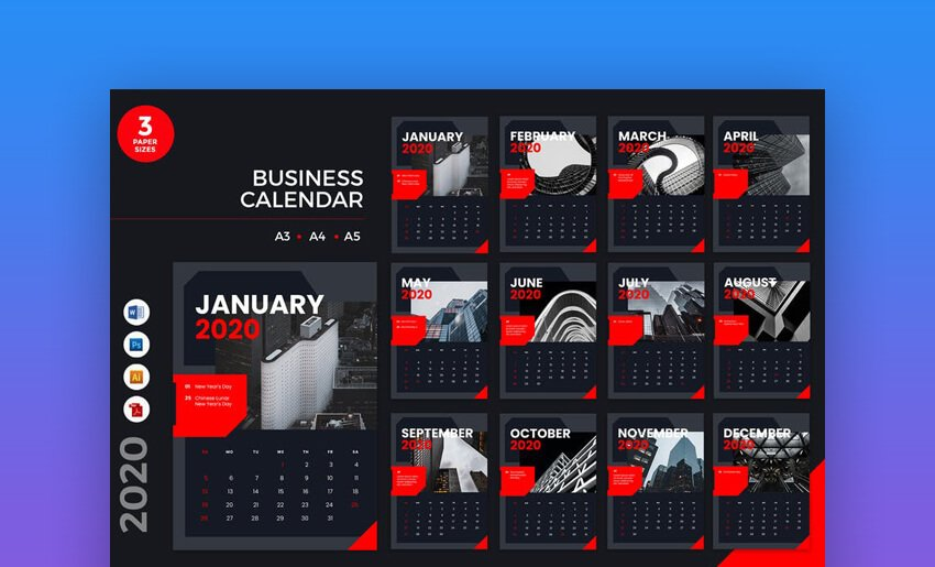 Business Calendar (Red)