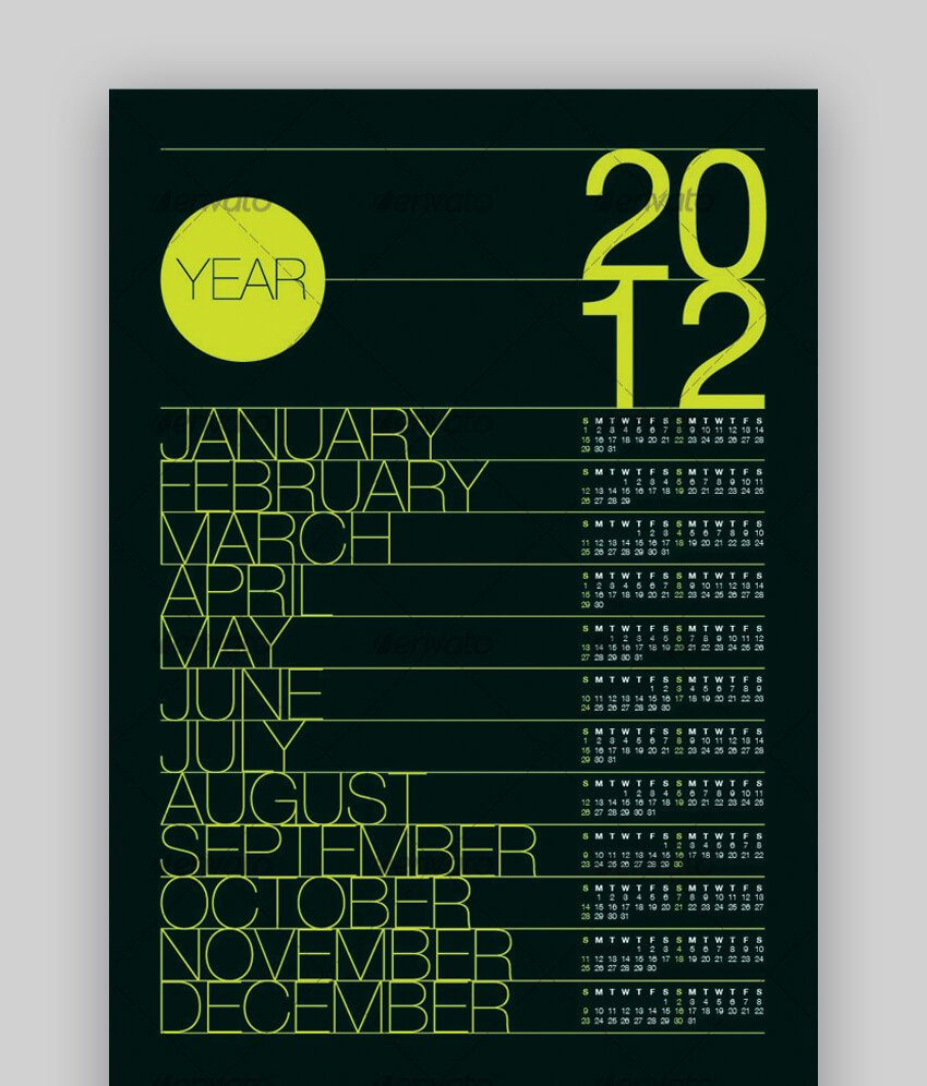 2012 Calendar Poster A3