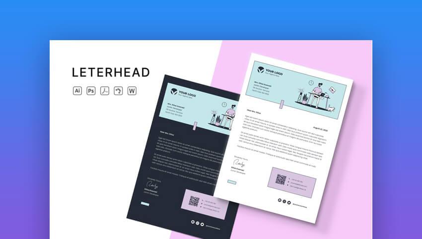Modern Word Letterhead template on Envato Elements