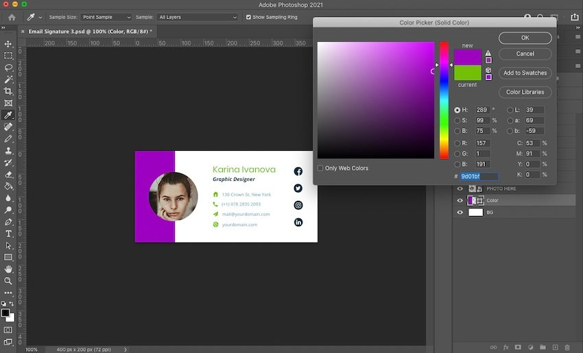 Customizing colors in the Email Signature V.1 template