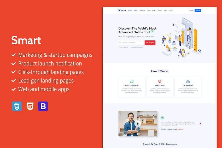 Smart landing page template on Envato Elements
