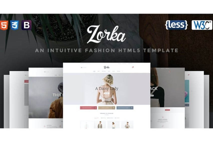 Zorka landing page template for fashion websites