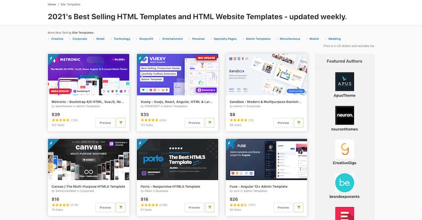 One Page website templates on ThemeForest