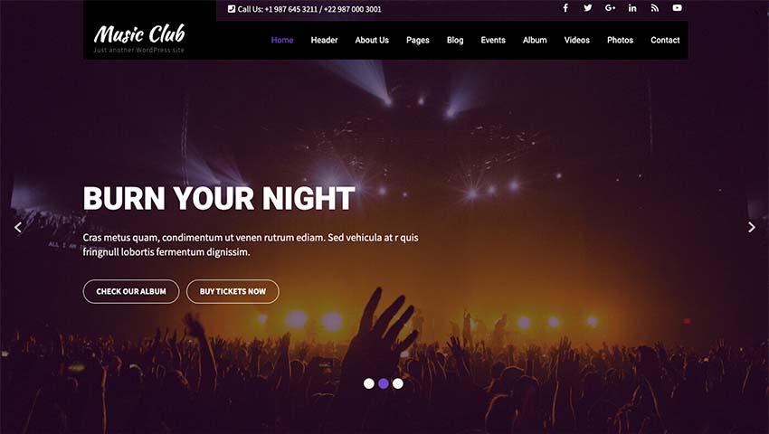Music Club Lite WordPress Theme