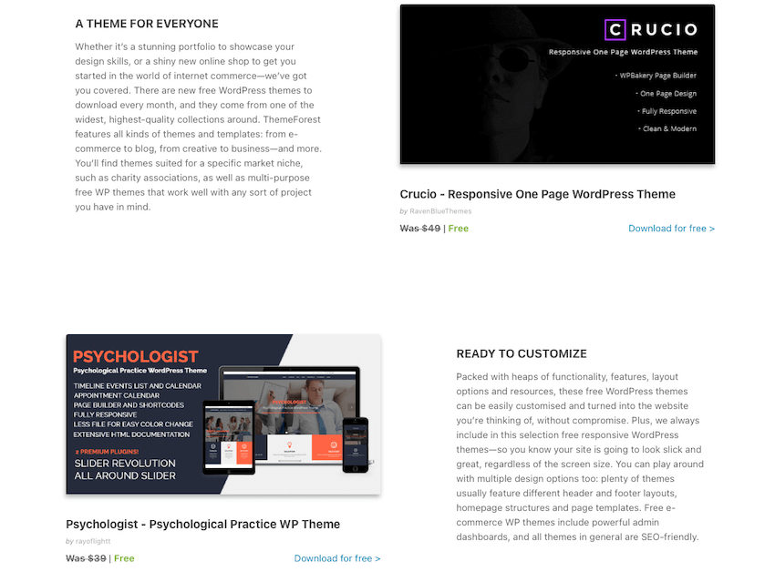 Free WordPress Themes on ThemeForest