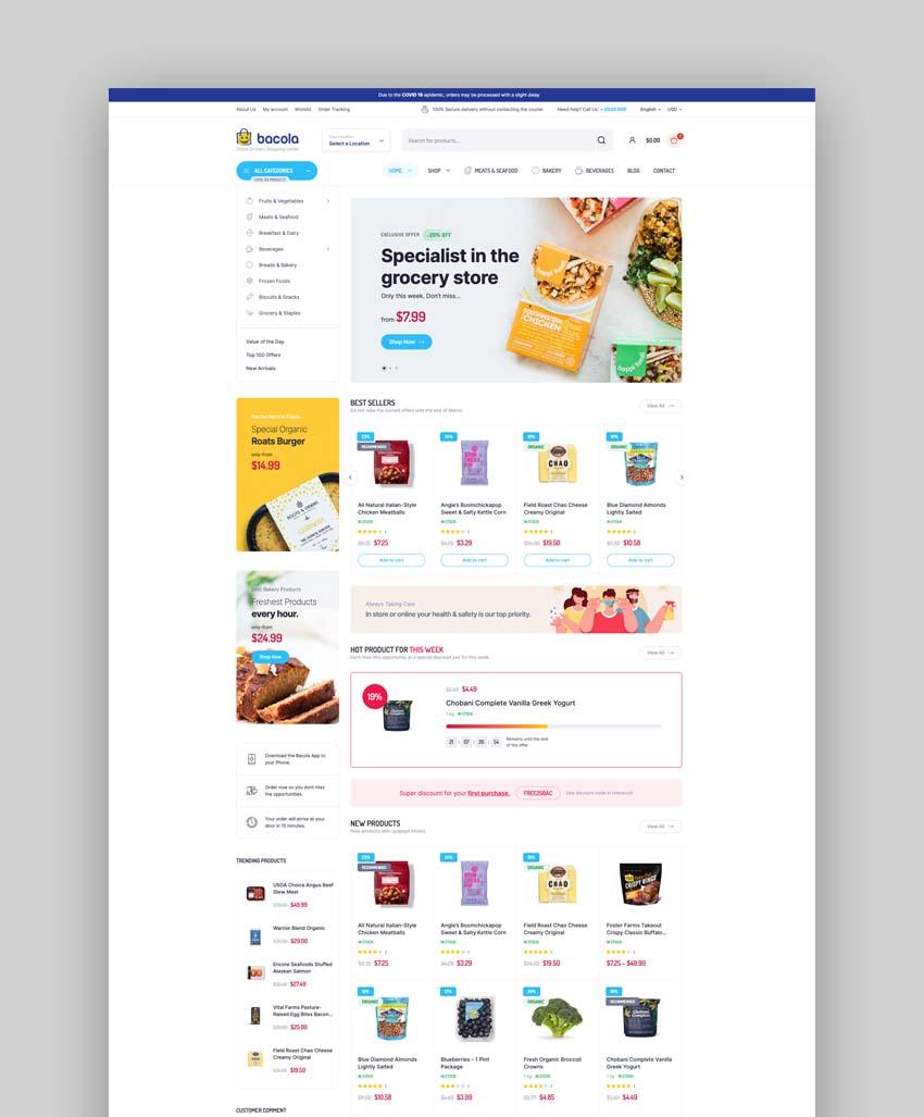 Bacola Grocery Store WordPress Theme