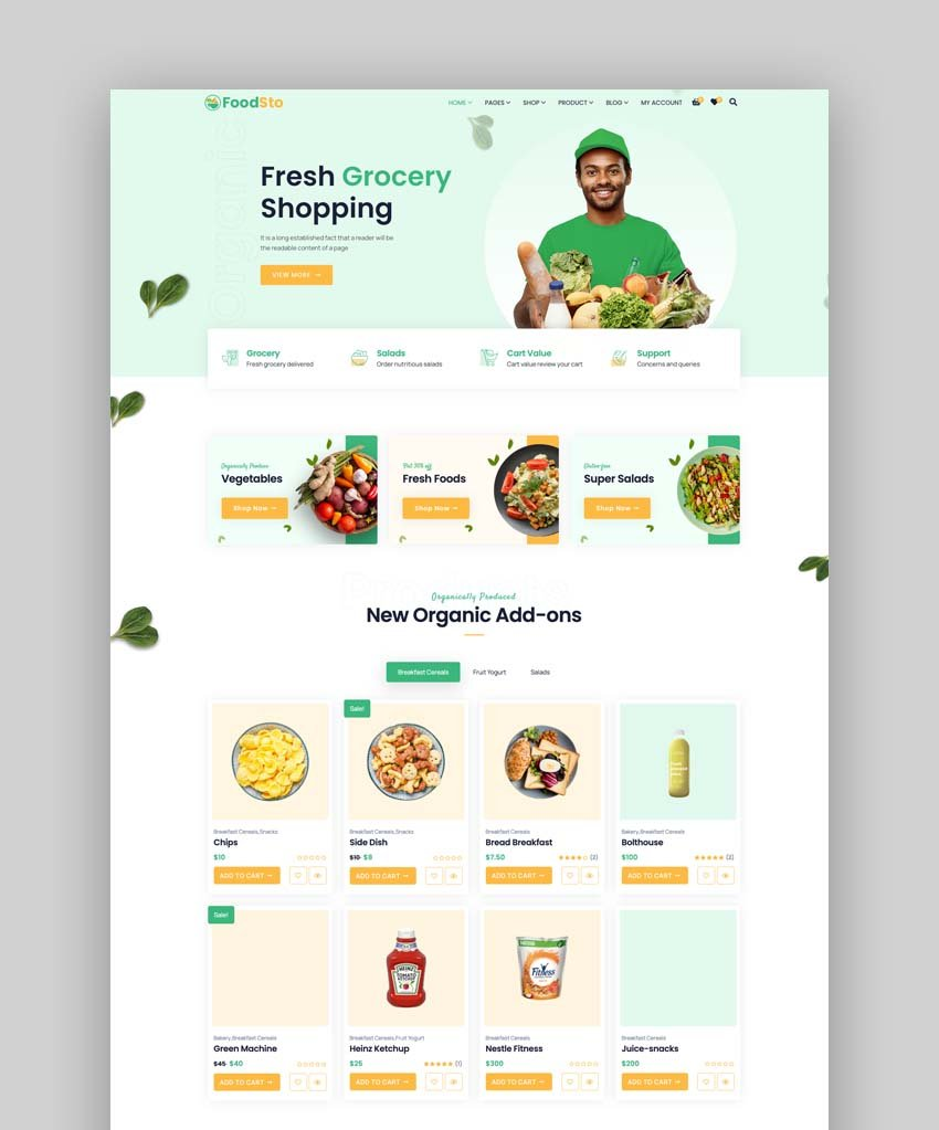 Foodsto - Grocery and food WordPress Theme