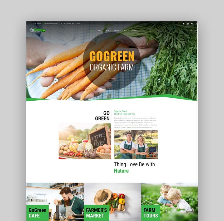 GoGreen Organic Food WordPress Theme
