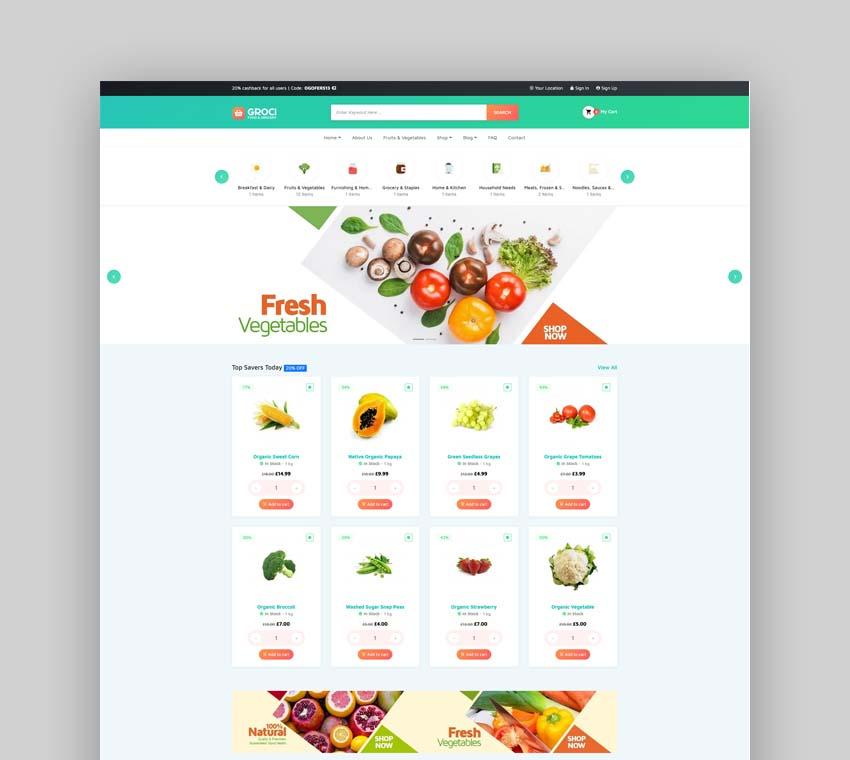 Groci Organic Food WordPress Theme