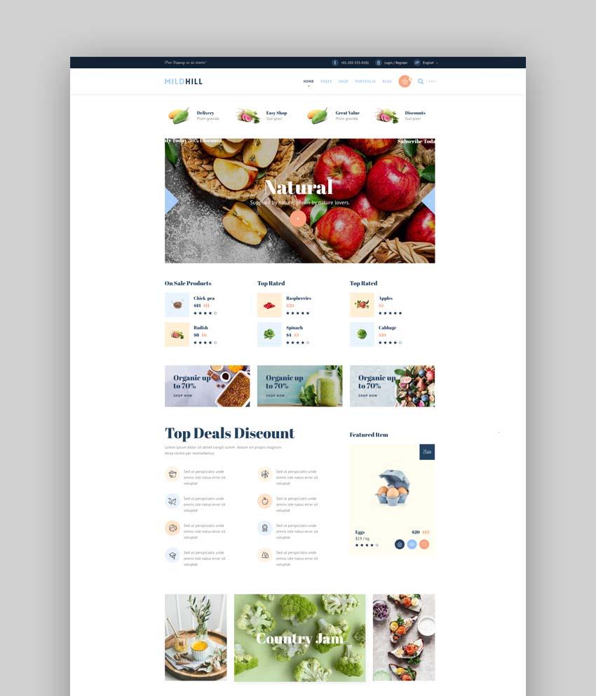 Mildhill Organic Food Store WordPress Theme
