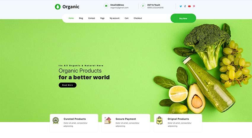 Organic Farm Free Food WordPress Theme