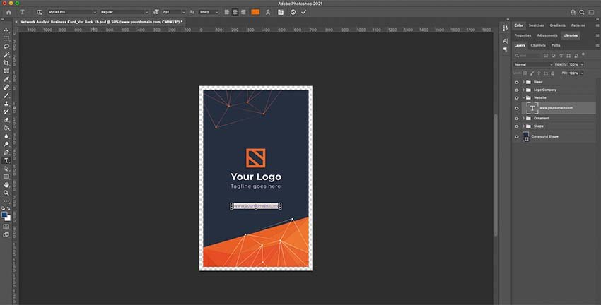 Customizing the back of business card template