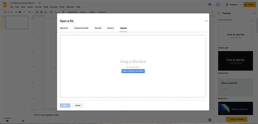 Uploading a presentation on Google Slides