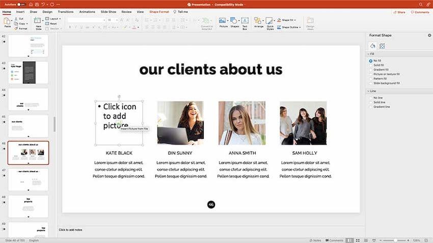 A slide for sharing testimonials