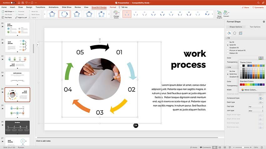 Showing your work process slide
