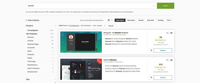 HTML resume templates on ThemeForest