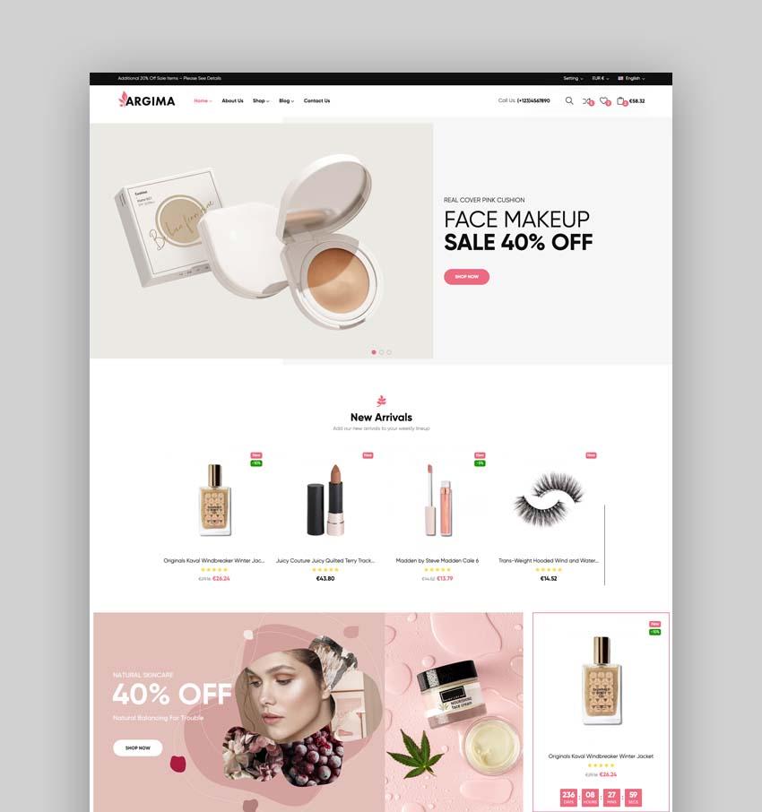 Argima - Cosmetics & Beauty eCommerce Bootstrap 5 Template