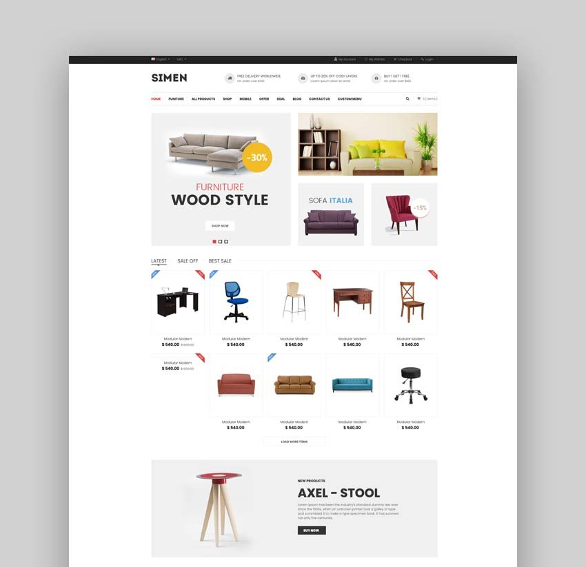 Simen - Multipurpose eCommerce Bootstrap Template