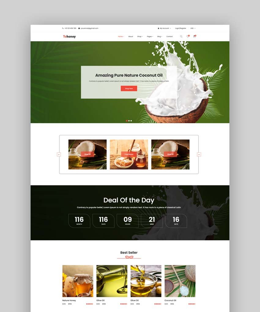 Tohoney - eCommerce Bootstrap 4 Template
