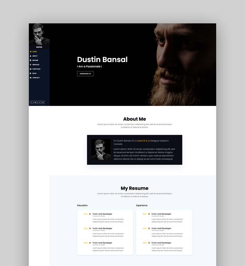 Dustin – Bootstrap 4 Portfolio Template