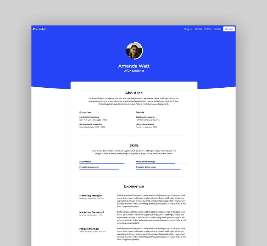 Profilekit - Bootstrap Portfolio Template