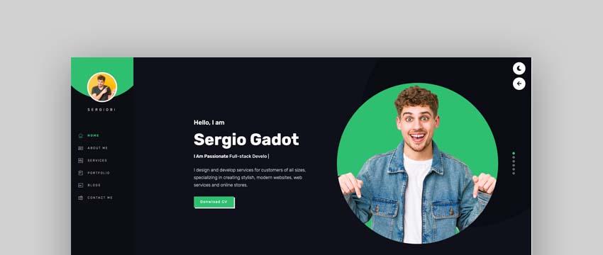 Sergio – Bootstrap 4 Personal Portfolio