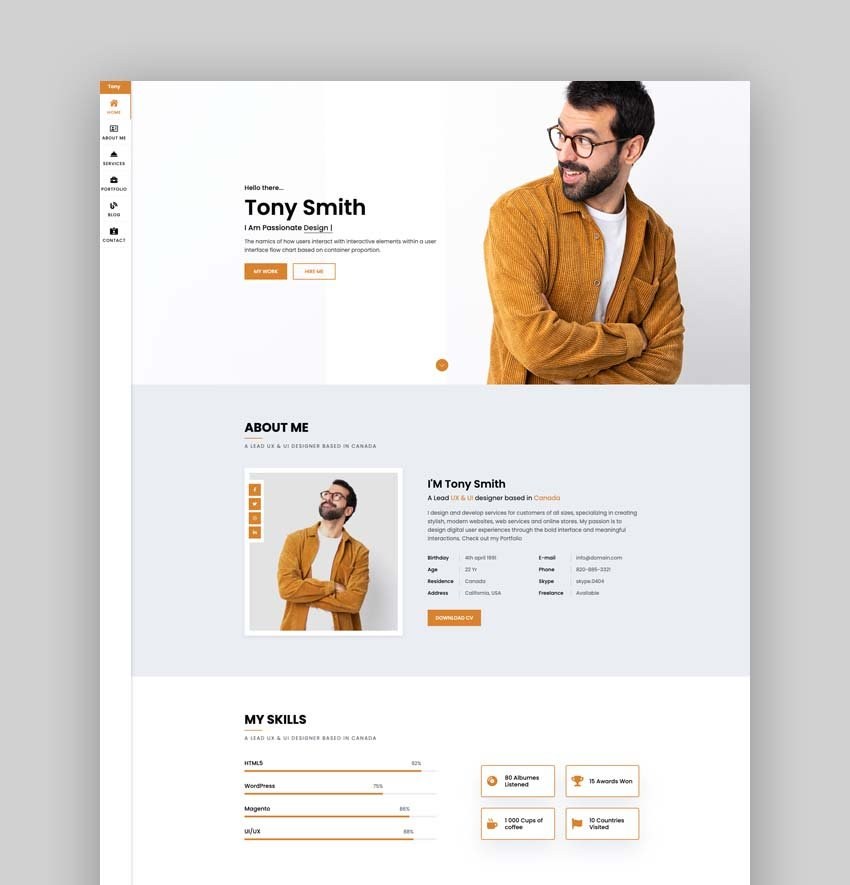 Tony – Bootstrap 4 Personal Portfolio