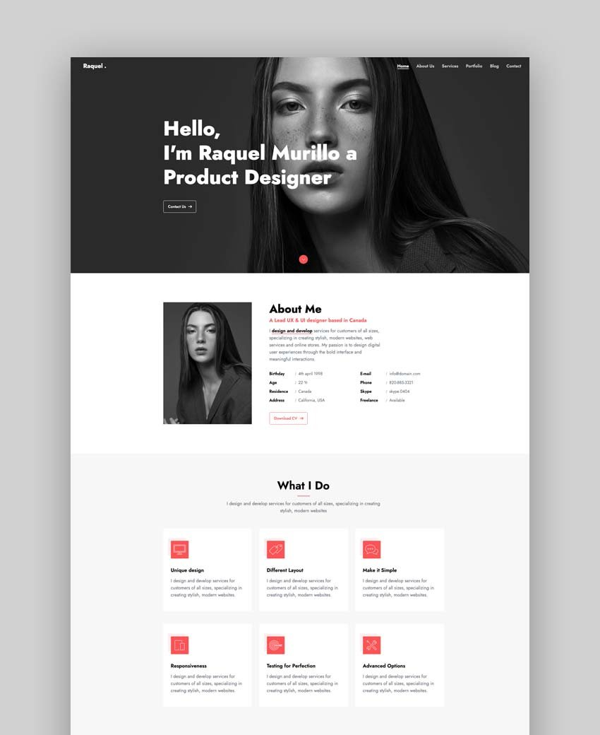 Raquel – Bootstrap 4 Personal Portfolio