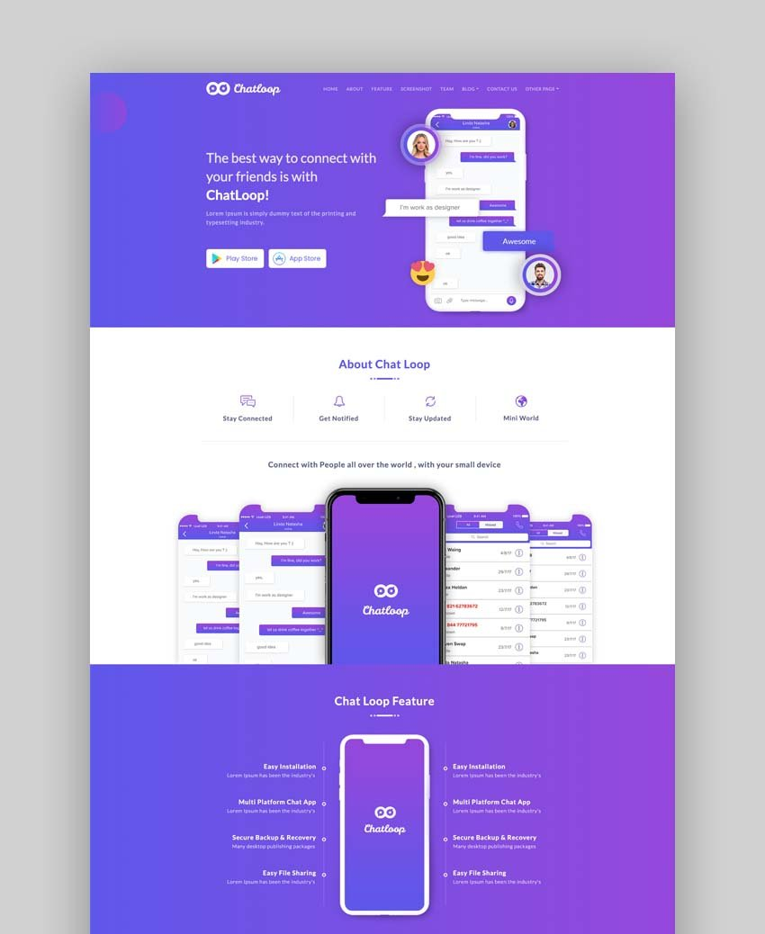 Chatloop - Responsive Bootstrap Landing Page Template