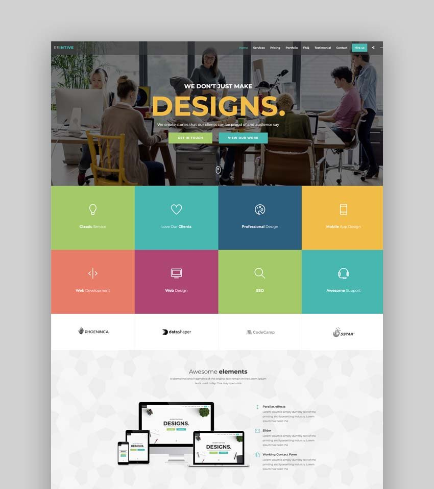 Reintive - Agency Business Responsive Bootstrap 4 Landing Page Template