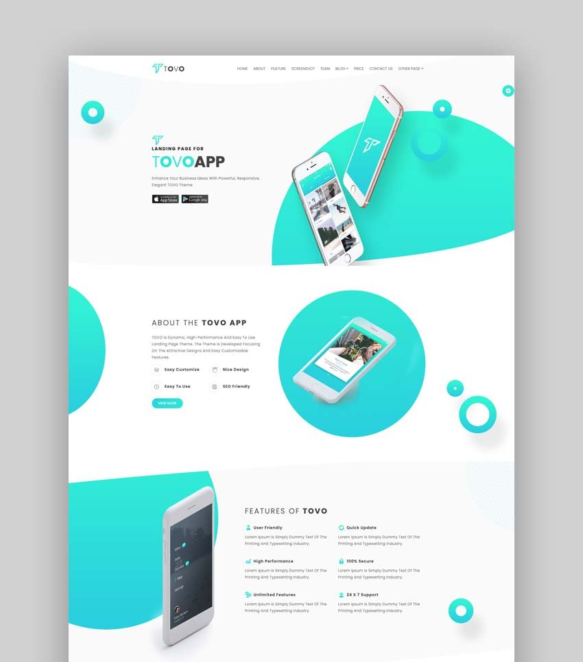 Tovo - Bootstrap 4 & 5 HTML App Landing Page