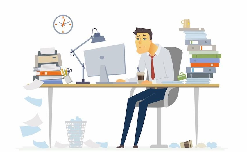 Tired office worker image from Envato Elements