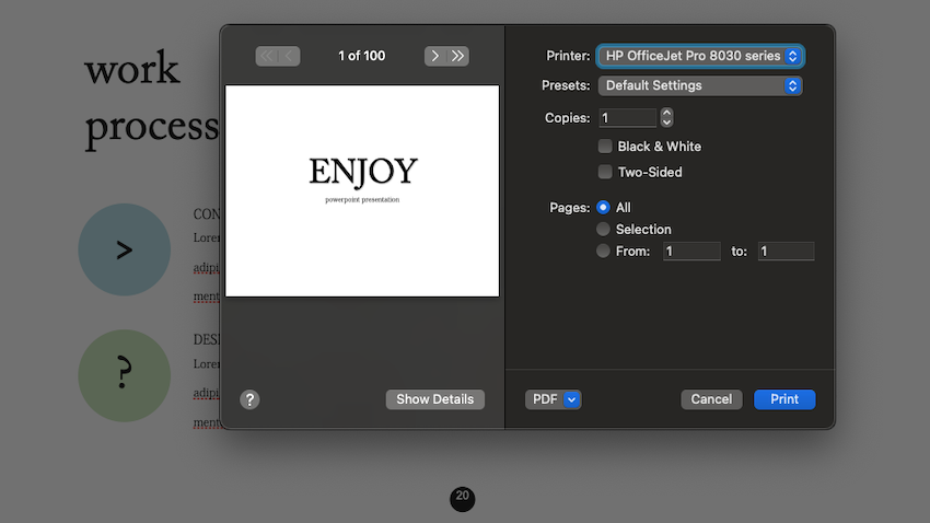 Additional settings in the print dialog