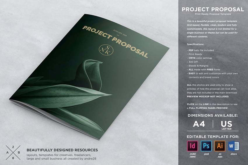 Project Proposal invoice template on Envato Elements