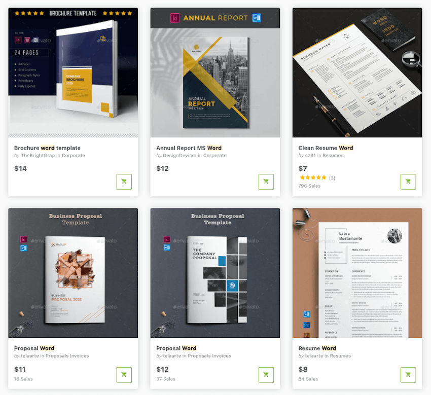 Find tons of premium Word templates on the Envato Market