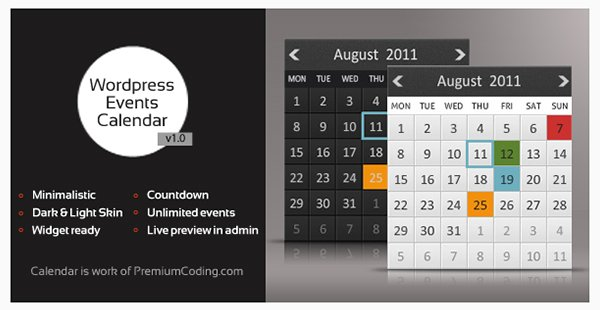 WordPress Multiple Events Calendar with Countdown