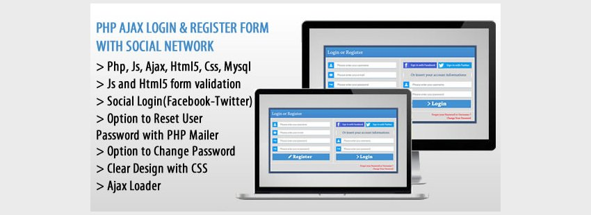 PHP AJAX Login Register Form with Social Network