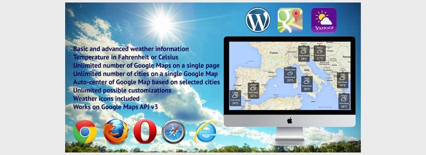 Weather on Google Maps for WordPress