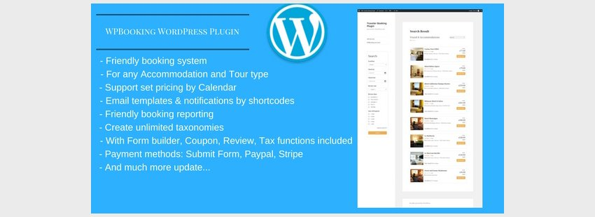 WPBooking - Accommodation and Tour booking system - WordPress Plugin