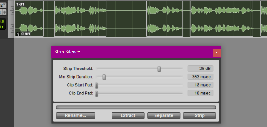 Strip Silence Dialog Box in Pro Tools