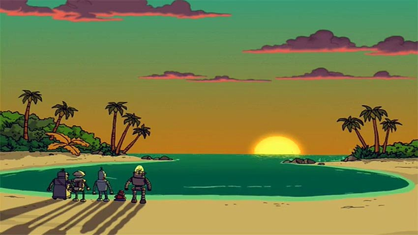 Sample image of robots and sunset
