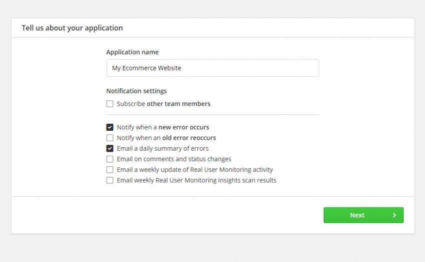 Create Raygun Application