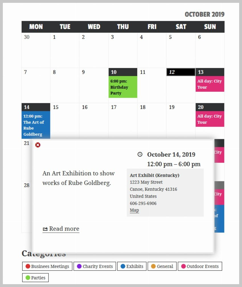 Event Calendar Styled
